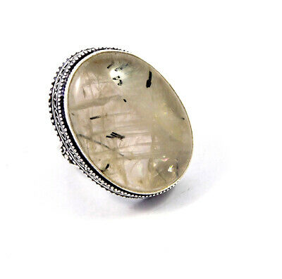 Black Needle Rutile Silver Plated Hand Carving Size 8.75 Ring  JT2347