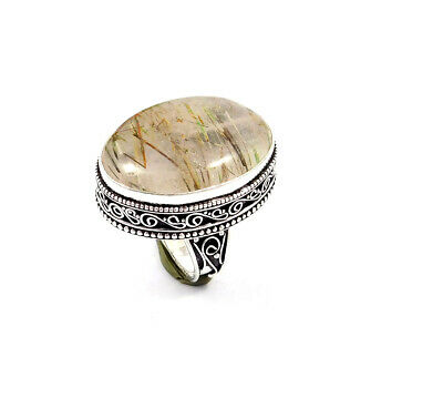 Golden Needle Rutile Silver Plated Hand Carving Size 8.25 Ring  JT2363