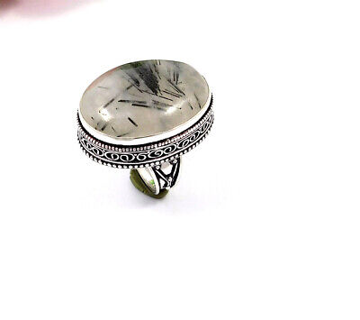 Black Needle Rutile Silver Plated Hand Carving Size 9  Ring  JT2354
