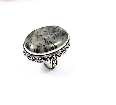 Black Needle Rutile Silver Plated Hand Carving Size 8.75 Ring  JT2344