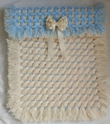 Blue & Cream Criss Cross Non Pom Pom Baby Boy Pram Blanket With Removable Bow