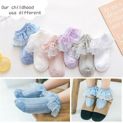 Retro Lace Ruffle Frilly Socks Kids Girls Princess Mesh Solid Cotton Short Socks