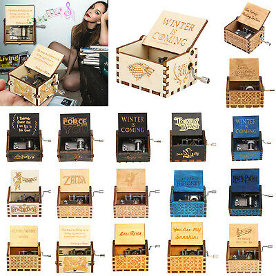 Wooden hand-cranked power game retro music box birthday gift decoration