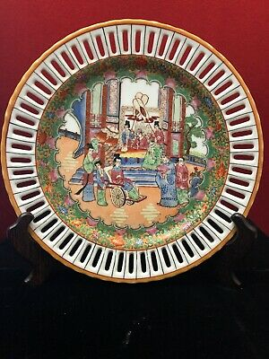 Vintage Chinese Export Famille Rose, Pierced  Tray, Plate, Porcelain