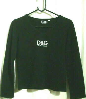 Dolce & Gabbana D&G Kids Size Large Black V Neck Cotton/Rayon Top Free Post