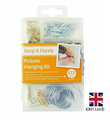 172 PICTURE HANGING KIT Mirror Photo Frame Hooks Brass Nail Wire Set Wall OTL UK