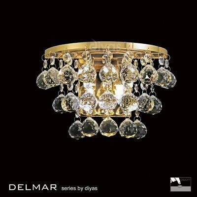 2 Wall Crystal Light IL30214 Atla Double Wall Bracket French Gold Finish Bedroom