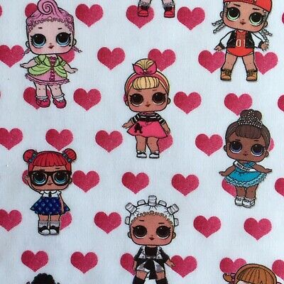 Fq Lol Surprise Doll Hearts Miss Punk Spice Polycotton Fabric Girls