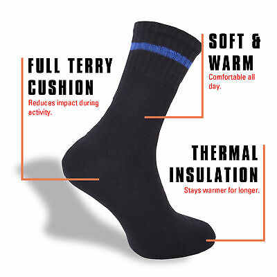 Mens 12 Pairs Thermal Socks Boot Outdoor Warm Cotton Rich Cushioned Size 6-11