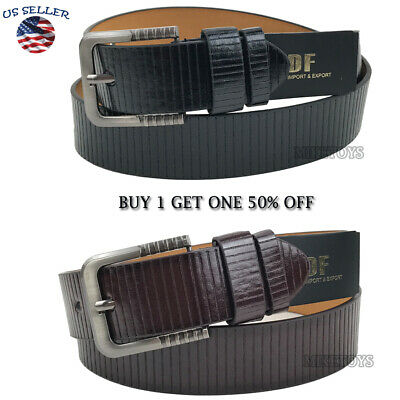 Men's Casual Black Dress Leather Belt w/ Buckle New S-XL classes Black Brown3781