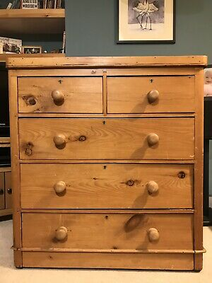 Victorian Pine Chest of Drawers Antique Vintage