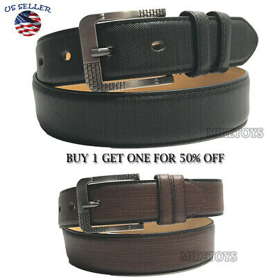 Men's Casual Black Dress Leather Belt w/ Buckle New S-XL classes Black Brown3386