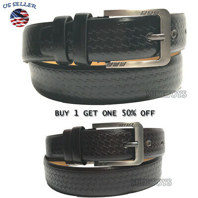 Men's Casual Black Dress Leather Belt w/ Buckle New S-XL classes Black Brown3747