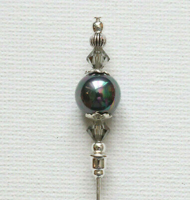 "PEACOCK GREY PEARL Vintage Antique Tibetan Silver Style 6"" Hat Pin Jellybean*"