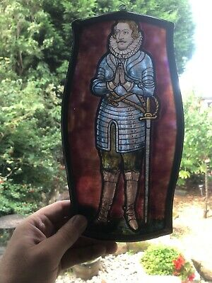 Beautiful Stained Glass Portrait Of Elizabethan Man In Lead Frame