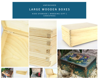 Unfinished Large Wooden Boxes Christmas Eve Gift Storage Box for DIY Craft De...