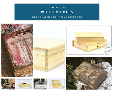 Unfinished Wooden Boxes Tissue Cover Book Shaped Storage Box for DIY Craft De...