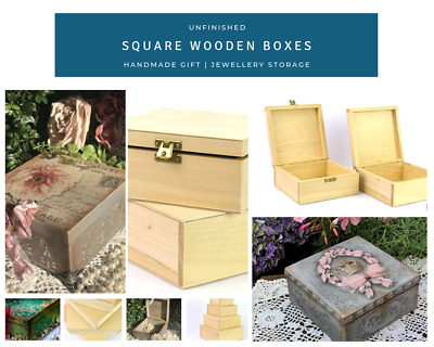 Unfinished Square Wooden Boxes Jewellery Gift Storage Box for DIY Craft Decou...