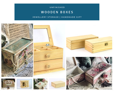 Unfinished Wooden Boxes Christmas Wedding Gift Jewellery Storage Box for DIY ...