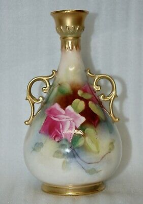Stunning Antique Royal Worcester  Hand Painted 2 Handled Vase Rose