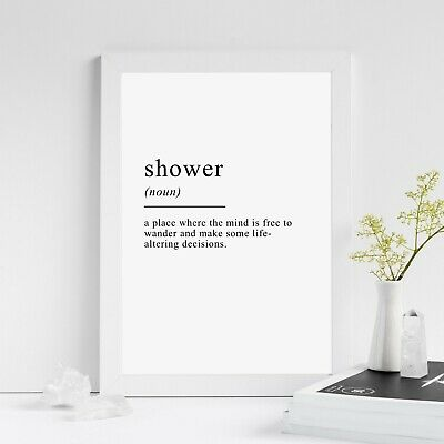 Shower Definition Print | A4 Typography Home Decor Bathroom Wall Art Poster Gift
