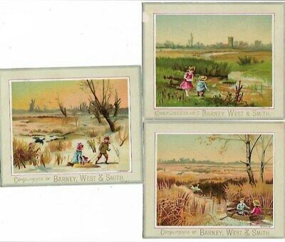 3  Rare Victorian Trade Cards,Barney,West & Smith. Syracuse,NY Dry Goods