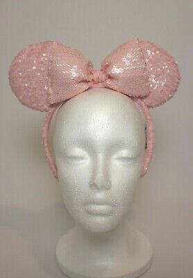 Disney Parks Minnie Mouse Ears Millennial Pink Sequined Headband with Bow NWT