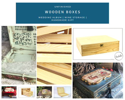 Unfinished Wooden Boxes Christmas Gift Wedding Photo Album Wine Storage Box f...