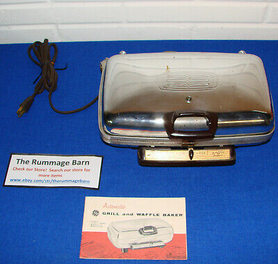 vintage GE General Electric AUTOMATIC GRILL and WAFFLE BAKER with MANUAL - works