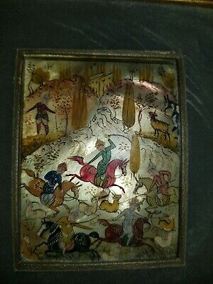 Antique Islamic Miniature Painting On Mother Of Pearl!  Hunting Scene!