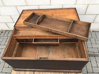 Antique Wooden Dovetail Trunk Carpenter Tool Chest Box Coffee Table Storage