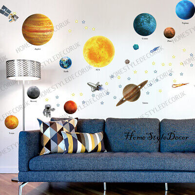 Solar System Wall Stickers Space Planets Kids Education Decor Mural Art Decal UK