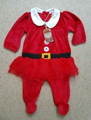 Girls 'Next' Red Velvet Mrs Christmas Romper Outfit, New with Tags