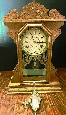 Antique Wm. L Gilbert Gingerbread Royal No. 80 Mantle Clock w/ Portrait Pendulum