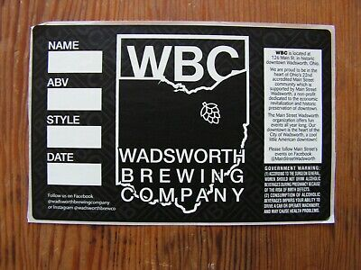 Wadsworth Brewing Co. Bottle Label Sticker ~NEW! Craft Beer Brewery Decal~