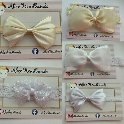 White/Cream Christening Baby Headband Baptism Wedding Bow Lace Bow Lace Band