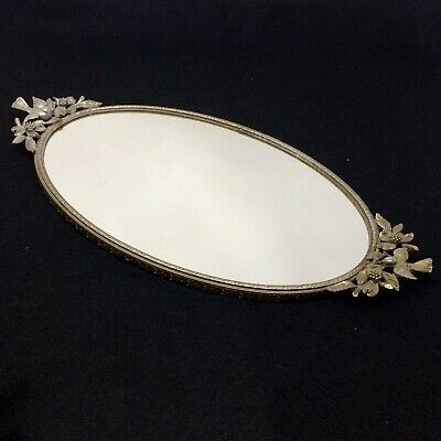 Vintage Matson Ormolu Gold Gilt Vanity Mirror Perfume Tray Bird & Dogwood Flower