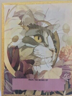 Vintage Antioch Gummed Bookplates 50 Watercolor Cats 1978 Julie Shearer