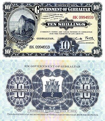 GIBRALTAR 10 shillings Banknote World Paper Money Currency Pick pNEW 2018 Limitd