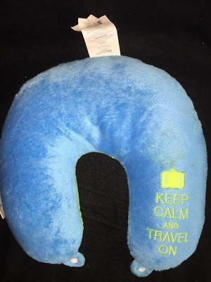 Neck Pillow U Shaped Micro Beads Travel Head Rest keep calm and travel on blue