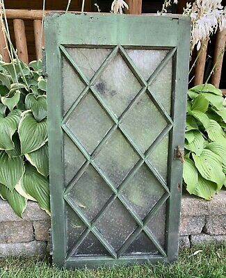 Antique Vintage Wood Diamond Pattern Frosted Glass Window Salvage