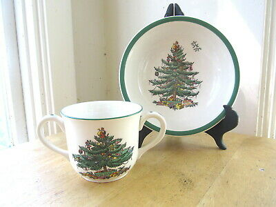 New - Spode Christmas Tree Child's Cup And Bowl
