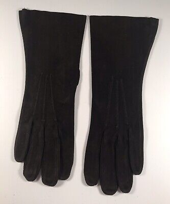 Womens Brown Suede Leather Gloves Size 7