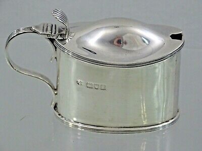 Nice Antique English Sterling Silver Mustard Pot Blue Glass Liner London 1901