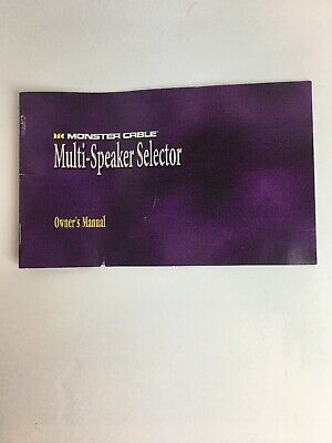 Monster Multi-Speaker Selector MSS-4 & MSS-6 Owners manual