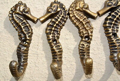 """4 small SEAHORSE BRASS HOOK COAT WALL MOUNTED HANG TROPICAL old style hook 3"""""""
