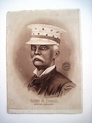 """Vintage Trade Card for """"Lion Coffee"""" w/ African Explorer """"Henry M. Stanley""""  *"""