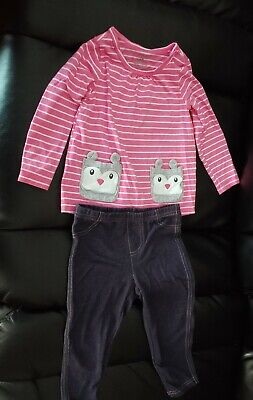 Carter's Owl Pink And White Striped Outfit Girls 24 Months