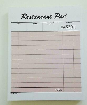 PUKKA PADS SINGLE PLY 100 PAGE PRE-PRINTED RESTAURANT FOOD ORDER PADS. 105x131mm