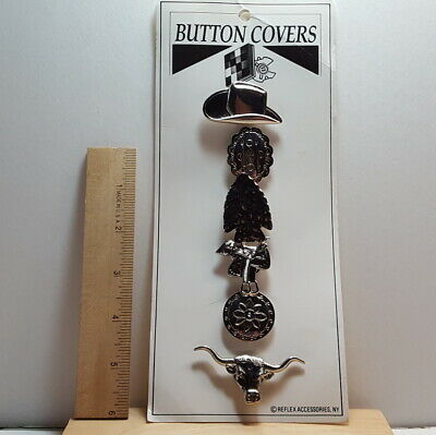 Vintage Cowboy Western Native American Style 6 Piece Silver Toned Button Covers